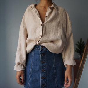 Vintage Tan Linen Button Up Blouse One Size